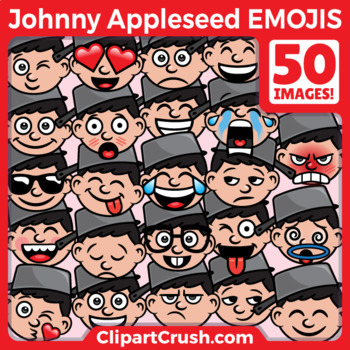 Cute Cartoon Johnny Appleseed Emoji Clipart Faces / Johnny Appleseed Clipart