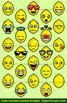 Cute Cartoon Lemon Emoji Clipart Faces / Lemon Fruit Emojis Emotions