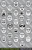 Cute Cartoon Mummy Emoji Clipart Faces / Mummy Halloween Emojis Emotions