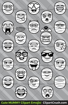 Mummy Clipart / Mummy Emoji Clipart Faces / Mummy Halloween Clipart Emojis