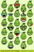 Cute Cartoon Pear Emoji Clipart Faces / Pear Fruit Emojis Emotions