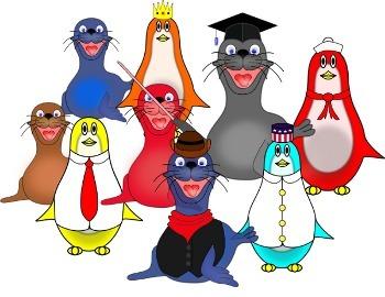 Cute Cartoon Penguin and Seal Clip Art
