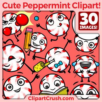 Cute Cartoon Peppermint Clipart Set Vol.1 / Fun Peppermint Mascot Characters