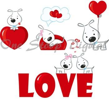 Cute Cartoon Puppy Dog Digital Clip Art Heart Love Dog ClipArt
