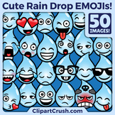 Cute Cartoon Rain Drop Emoji Clipart Faces / RainDrop Weather Clip Art Emojis