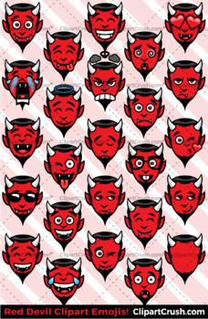 Cute Cartoon Red Devil Emoji Clipart Faces / Satan Halloween Emojis Emotions