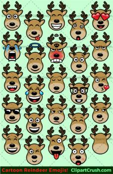 Cute Cartoon Reindeer Emoji Clipart Faces / Deer Reindeer Christmas Emojis