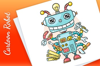 Cute Cartoon Robot with Six Hands Holding Different Working Tools