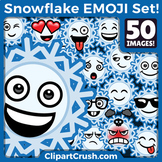Cute Cartoon Snowflake Emoji Clipart Faces / Snowflake Winter Emojis