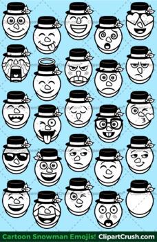 Cute Cartoon Snowman Emoji Clipart Faces / Snowman Christmas Emojis
