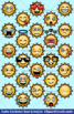 Cute Cartoon Sun Emoji Clipart Faces / Sun Space Emojis Emotions