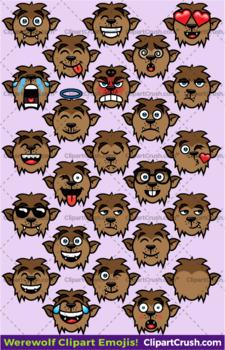 Cute Cartoon Werewolf Emoji Clipart Faces / Wolfman Halloween Emojis
