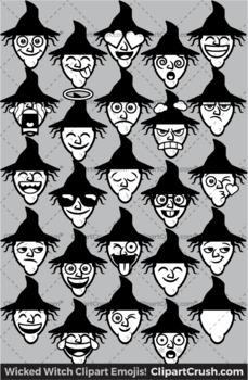 Cute Cartoon Witch Emoji Clip Art Faces / Witch Halloween Clipart Emojis