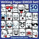 Cute Cartoon Writing Paper Emoji Clipart Faces / Lined Paper Emojis Emotions