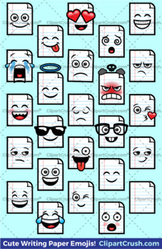 Cute Cartoon Writing Paper Emoji Clipart Faces / Lined Paper Emojis Emotions