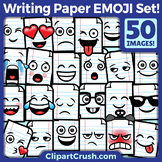 Cute Cartoon Writing Paper Emoji Clipart Faces / Lined Pap