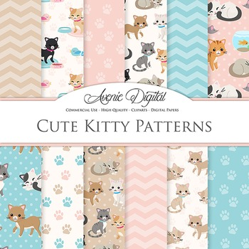 Cute Cat Digital Paper Kitty Background Kitten patterns. Cats kittens paw prints