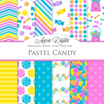Pastel Candy Digital Paper Background Candies patterns. Sweets and treats