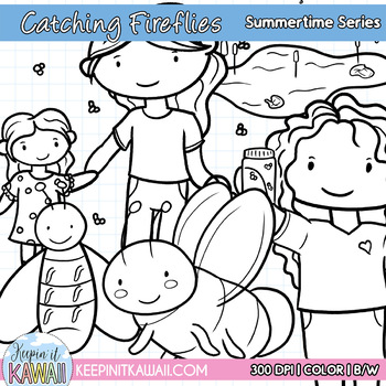 Cute Catching Fireflies Summertime Series Clip Art Set
