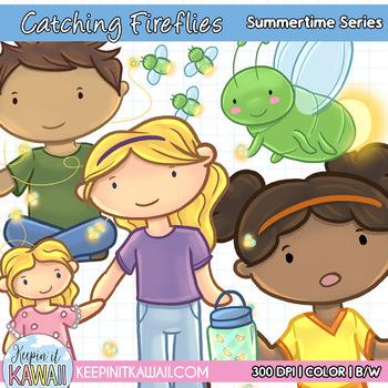 Cute Catching Fireflies Summertime Series Clip Art Set