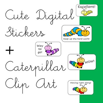 Cute Caterpillar Clip Art Images- High Quality PNG files - Commercial Use Okay