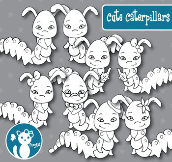 Cute Caterpillars Digital Clipart Color + B&W FREE for a limited time