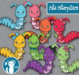 Cute Caterpillars Digital Clipart Color + B&W FREE for a l