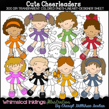 Cute Cheerleaders Clipart Collection