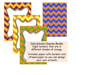 Borders: Cute Chevron Borders and Paper in Autumn colors