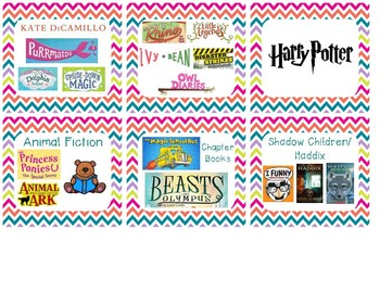 Cute Chevron Classroom Library Series/AR Level Labels Fit Target Plastic Pockets
