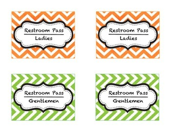 Cute Chevron Style Hall Passes Labels