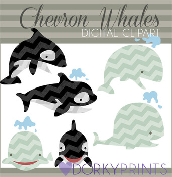 Cute Chevron Whale Clip Art Images