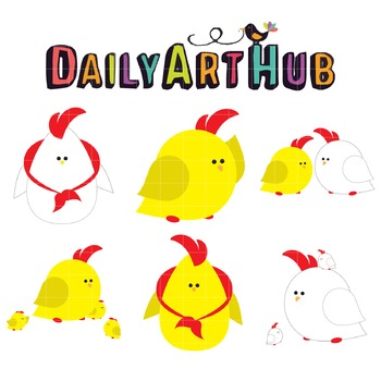 Cute Chickens Clip Art - Great for Art Class Projects!