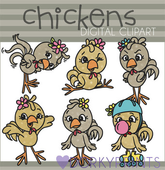 Cute Chickens Digital Clip Art