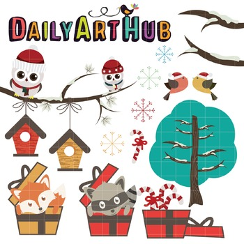 Cute Christmas Animals Clip Art - Great for Art Class Projects!