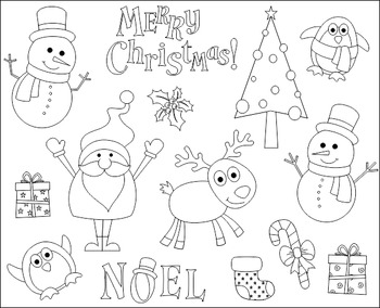 Cute Christmas Clip Art, Xmas Clipart - Santa, Christmas Tree, Snowman, Penguin