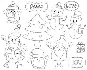 Cute Christmas Clip Art, Xmas Clipart - Santa, Christmas Tree, Snowman, Penguin