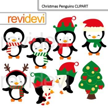 Cute Christmas Clip Art / Xmas Penguins Cliparts
