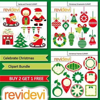 Cute Christmas Clip Art / Xmas clipart bundle (3 packs)