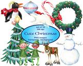Cute Christmas Digital Clip Art, Santa, Reindeer, Snowman, Elf, Ornament