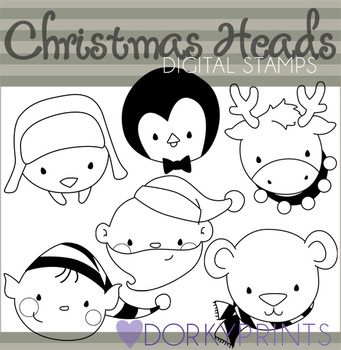 Cute Christmas Heads Black Line Art