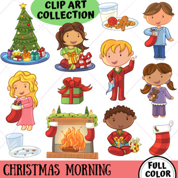 Cute Christmas Morning Clip Art - Winter Wonderland Series