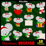 Cute Christmas Mouse Clipart Set - 12 Poses!