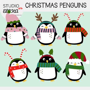 Cute Christmas Clip Art.Cute Christmas Penguins Clipart