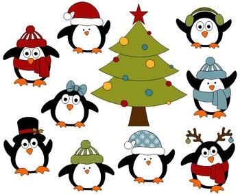 Cute Christmas Penguins Digital Clip Art