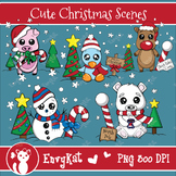 Cute Christmas Scenes Digital Clipart, Includes Color and B&W