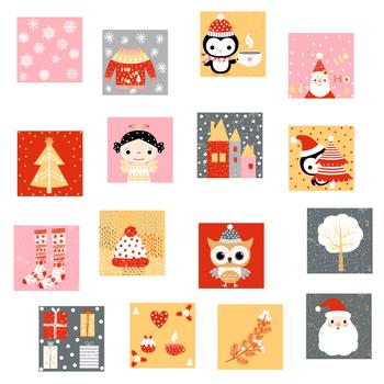 Cute Christmas advent calendar numbers, DIY countdown December cards xmas red