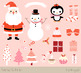 Cute Christmas clipart set, Kawaii Christmas, Snowman, Santa Claus clipart