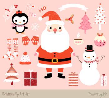 cute christmas clipart set kawaii christmas snowman. Black Bedroom Furniture Sets. Home Design Ideas