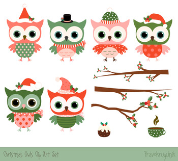 Cute Christmas owls clipart set, Christmas owls on tree branches, Winter clipart